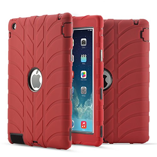 iPad 2 Hülle, iPad 3 Hülle, iPad 4 Hülle, Fisel Reifen-Design, dreilagig, robust, stoßfest, Hybrid, Kratzfest, stoßfest -