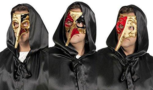 Wilbers Maske Augenmaske Zanni goldene Lange Nase Karneval Fasching Party (Zanni Kostüm)