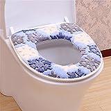 ZGJ AFFE Wärmer Coral Fleece Thicken WC Sitzbezug Toilettensitzabdeckung (Blau)