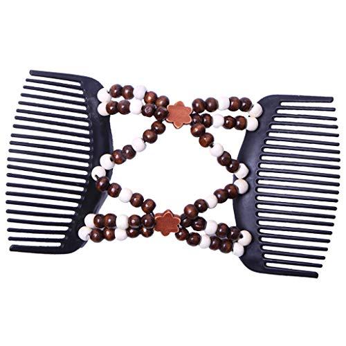 Baoblaze Elastische und doppelte Haarspange Haarkamm Schmuck Steckkamm Haarklammer Haarclip für Hochzeit DIY Frisuren - Dunkelbraun