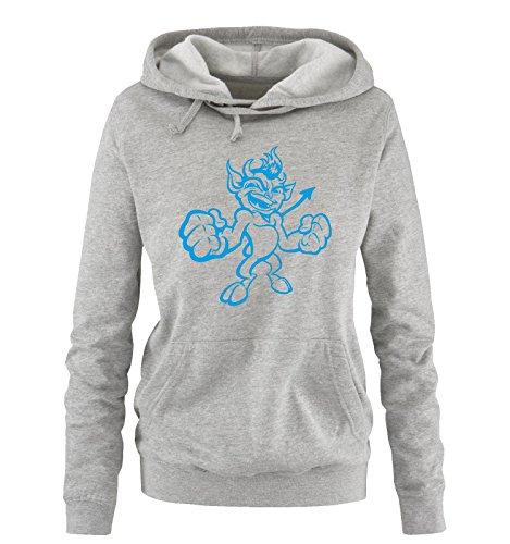 Comedy Shirts - KLEINER TEUFEL - Damen Hoodie - Grau / Blau Gr. XL (Teufel Mens Tee)
