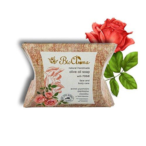 100% naturelle Savon avec Rose pour nettoyage du visage et du corps./90 gr olive Oil Soap for Face and Body