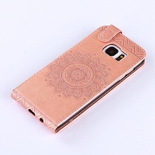 Étui en cuir PU pour Samsung Galaxy S7 Edge,Vertical Pliable Rabat Shell pour Samsung Galaxy S7 Edge,Galaxy S7 Edge Flip Cover,Ekakashop Etui avec Motif de Violet Clair Mandala Retro Tendance Style Po Rose D'or