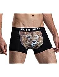 Bigood Boxer Homme Sexy Sous-vêtement Imprimé Brief Coton Lingerie Animaux Culotte Respirant