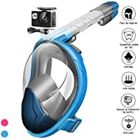 StillCool Máscara de Buceo para Snorkel Plegable Panorámica Cara 180°Respiración Fácil Impermeable AntivahoDiadema Ajustable