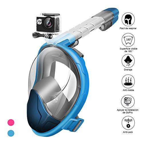 StillCool Máscara de Buceo para Snorkel Plegable Panorámica Cara 180° Máscara de Snorkel - Respiración Fácil Impermeable Antivaho A Prueba de Fugas Diadema Ajustable Con dispositivo de cámara para Niños Adultos y Jóvenes (azul, M)