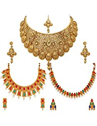 Apara Traditional Kundan Ruby Combo Jewellery Necklace Set With Maang Tikka For Women