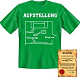 coole Funshirt + Urkunde - Motiv: Aufstellung-Couch-Bier-Fernseher-Frau! Fun T-Shirt Shirt Sprüche