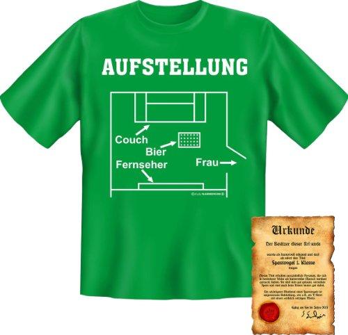 coole Funshirt + Urkunde - Motiv: Aufstellung-Couch-Bier-Fernseher-Frau! Fun T-Shirt Shirt Sprüche (T-shirt Aufstellung)