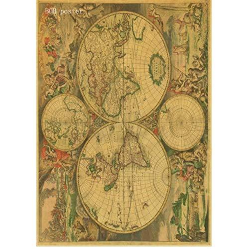 Juou Weinleseplakat Alte Alte Stadt Weltkarten Mittelerde Alte Karte Poster Retro Kraftpapier Wohnkultur Wandaufkleber