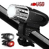 Fahrrad licht Led Set, USB Wiederaufladbares Fahrradlichter Fahrradlampe Fahrradbeleuchtung Set mit Aufladbar 1200mA Akku, Beseloa STVZO Wasserdicht Fahrrad Licht Vorne x2, Fahrrad Rücklicht x1, 400LM