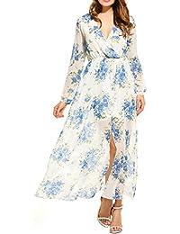 90a674c3d8536f Zeagoo Damen Maxikleid V-Ausschnitt Strandkleid Lang Sommerkleid Chiffon  Boho Kleider Blumen Kleid…
