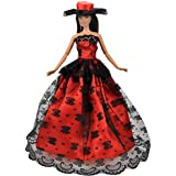 Glareshop Fashion Doll Clothes Formal Gown Wedding Party Full Dresses for Barbie Doll