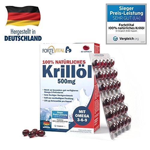ForteVital® Krill Öl 500mg Premium mit Omega 3 - Omega 6 - Omega 9 - 60 Kapseln (Krillöl) mit 21 mg Astaxanthin pro 100g