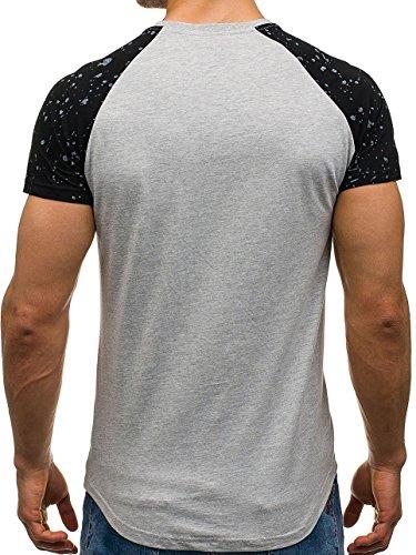 BOLF Herren T-Shirt Tee Kurzarm Rundhals Slim Sommer Print Aufdruck 3C3 Motiv Grau