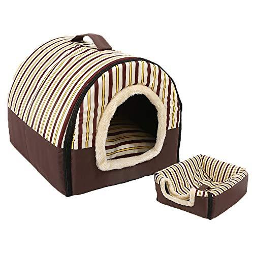 Katzen Hundebett Haustier Matten, Weiches Waschbares Hundehaustier Warmes Bett Hundehäuser, Doppelt Verwendbares Abnehmbares Haustier Nest, Eleganter Streifen Satz Von 2 (größe : XL(75x57x55cm)) (Streifen-bett-satz)