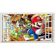 Super Mario Bros V101Magic ventana de póster de arte de la pared Tamaño de adhesivo de pared autoadhesivo 1000mm de ancho x 600mm de profundidad (Tamaño Grande)