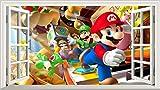 Super Mario Brothers V101 Magic Window Wandtattoo, selbstklebend, 1000x 600mm, Größe L