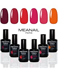 COFFRET MANUCURE VERNIS SEMI-PERMANENT • Coffret ROUGE ❤️ • 6 VERNIS GEL POLISH 5ml • Grenadine, Rouge, Marmelade, Be my Baby, Framboise, Bordeaux • Semi-permanent • Nail Art • Soak off Nail Polish • Vernis gel professionnel Meanail® Paris  • Glamour, professionnel & Nail-friendly • Vegan & Cruelty Free