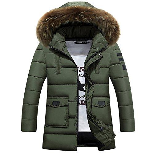 yffushi Piumino Slim Fit da uomo Parka giacca invernale Outwear autunno con cappuccio Puffer Cappotto, Uomo, Green, S