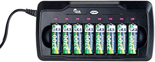 tka Köbele Akkutechnik Akkulader: Ladegerät für 8 AA- & AAA-Akkus, mit Kontroll-LEDs & Sicherheits-Timer (Batterieladegerät Akku)