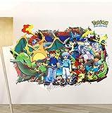 Bricolage Bande Dessinée Pikachu Rouge À travers des Autocollants Muraux Pour La Chambre Des Enfants Décorations De La Chambre 3D Pokemon Go Wall Art Stickers Bricolage Posters 50 * 70Cm
