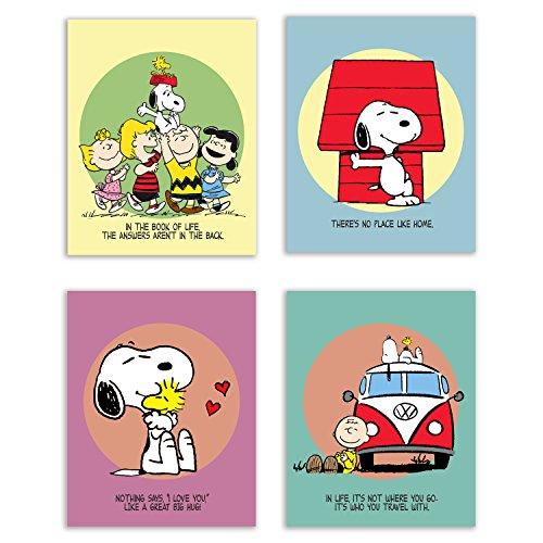 Summit Designs Charlie Brown und Snoopy Schlafzimmer Kinderzimmer Wandtattoo Art Prints-Set von 4(8x 10) Fotos-Erdnüsse und Quotes Poster Decor