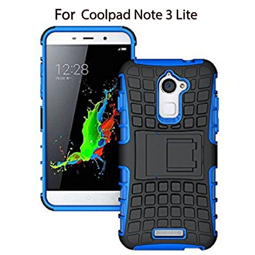 Heartly Flip Kick Stand Spider Hard Dual Rugged Shock Proof Tough Hybrid Armor Bumper Back Case Cover For Coolpad Note 3 Lite 5 Inch - Power Blue
