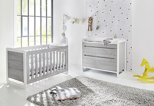 Pinolino 093440B 2-Teilig, Kinderbett, Breite Wickelkommode mit Wickelaufsatz, Edelmatt und Beschichtet, 140 X 70 cm, esche grau/weiß