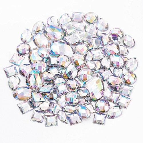 100 x bunt Glitzersteine Schmucksteine Acrylsteine Strasssteine Bastelsteine zum aufnähen nähen Aufnähsteine Kleidung Tasche Deko
