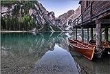 Stampa su Tela 120 x 80 cm: Lago di Braies, Dolomite Alps, South Tyrol di Achim Thomae - Poster Pronti, Foto su Telaio, Foto su Vera Tela, Stampa su Tela
