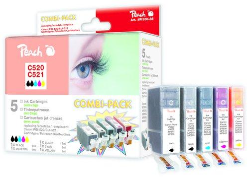 PEACH XL Tintenpatronen Kombipack BK/PBK/C/M/Y - PI100-85 / C520/C521 (kompatibel zu CLI-521Pack) - 520 Tintenstrahl-drucker