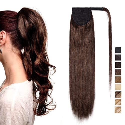 Extension coda di cavallo capelli veri clip fascia unica 100% remy human hair umani lisci naturali ponytail extensions aderire 35cm-80g # castano cioccolato