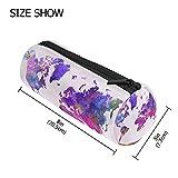 tizorax Weltkarte in Aquarell violett Federmäppchen Pen Tasche mit Reißverschluss Münze Organizer Make-up costmetic Tasche für Frauen Mädchen Jungen Teenager Kinder