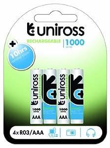 Uniross–4x AAA Piles rechargeables 1000Series u0239851