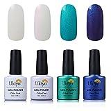 Ukiyo 4pcs imbibe Gel Nagellack Semi-Permanent Soak Off UV LED farbe Barfuß Nagellack Nägel Einweichen 8ml Polish