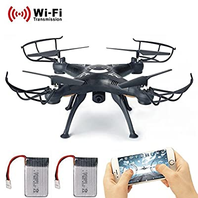 RC Drone with wifi HD FPV Camera Remote Control Airplane + Extra Battery Support Headless One Key Home 3D Flips Quad Copter Helicopter Hover Drone Remote Controller with LCD Display Screen Lamaston X5SW-1 (Black) from LAMASTON
