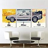 Chaoaihekele Toile Art Film Affiche 3 Pièces Retour Vers Le Futur Ville Phantom Peinture Home Decor Mur Photos Pour Le Salon Pas De Cadre 50X60Cmx3Pcs