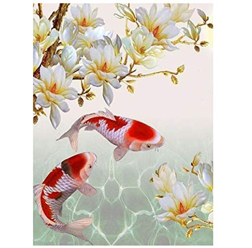 DIY Diamond Painting Crafts Mandala Animal Fish Koi and Flower Square Drill Cross Stitch Home Decor 30Cmx40Cm (Fish Cross Stitch Koi)