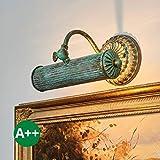 Wandleuchte dimmbar (Retro, Vintage, Antik) in Bronze aus Metall u.a. für Wohnzimmer & Esszimmer (1 flammig, E14, A++) von Lampenwelt | Bilderleuchte, Wandlampe, Wohnzimmerlampe