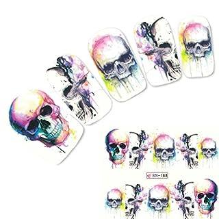 JUSTFOX - Nagel Sticker Tattoo Nail Art rauchender Totenkopf