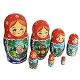Semenovskaya Rospis Matroschka Puppen Babuschka Spielzeug Steckpuppe 'Mascha und der Bär' 7-TLG. 16cm Handarbeit