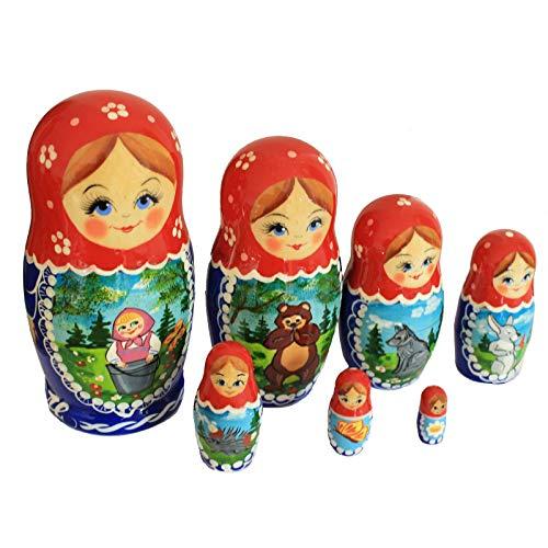 Semenovskaya Rospis Matroschka Puppen Babuschka Spielzeug Steckpuppe \'Mascha und der Bär\' 7-TLG. 16cm Handarbeit