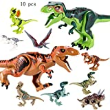 QILICZ 10stk set Große tyrannosaurus und klein Dinosaurier Spielzeug, Gelenke sind beweglich,Welt Dinosaurier Kunststoff Dinosaurier Spielzeug Kindergeburtstag Party Dekoration ungiftig Kinder sicher (A)