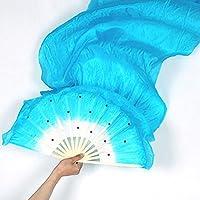 Abanico largo de colores, hecho a mano a partir de bambú y seda, tamaño de 1,8 m, ideal para complementar un disfraz o como accesorio para danza del vientre, marca Woopower, azul