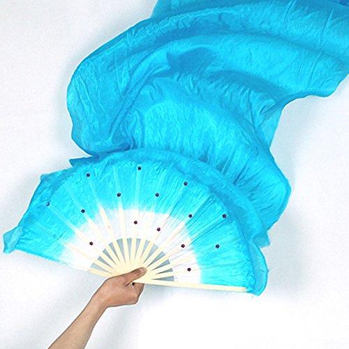 Bambus Kostüm Tanz - Woopower Dance-Anhänger, 1,8m, hergestellt mit Bauchtanz Kostüm Tanz-Fans Bambus mit Schleier für die Party zu, blau