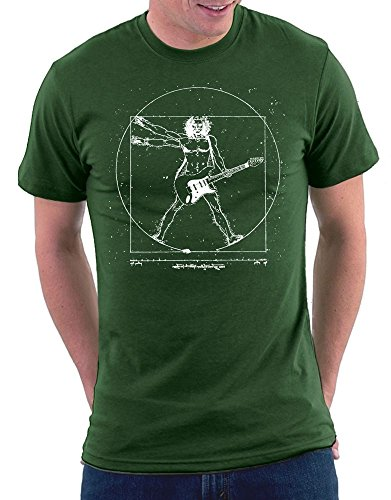 Million Nation Da Vinci Guitar T-shirt, Größe M, Bottlegreen (Da Vinci Guitar Shirt)