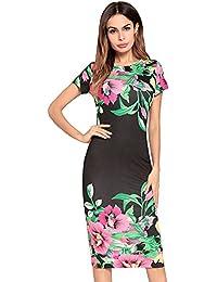 5472876dc Dxlta Vestido para Mujeres - O Cuello Manga Corta Floral Impreso Cóctel  Delgado Vestidos Bodycon