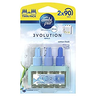 Ambi Pur 3Volution Cotton Fresh Plug-In Air Freshener Refill 20 ml (Pack of 2),Packaging may vary
