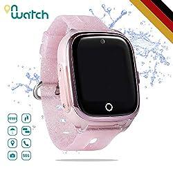 ON WATCH Smartwatch Kinder GPS + WiFi + Lbs + Agps mit SIM Karte, Kamera, wecker, chatten, Aktivitätstracker und vieles mehr Uhr mädchen um Ihre Kinder im Auge zu behalten (Pink)